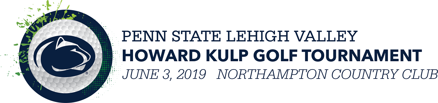 """picture of golf ball and text reading, """"penn state lehigh valley howard kulp golf tournament january 3, 2019"""""""