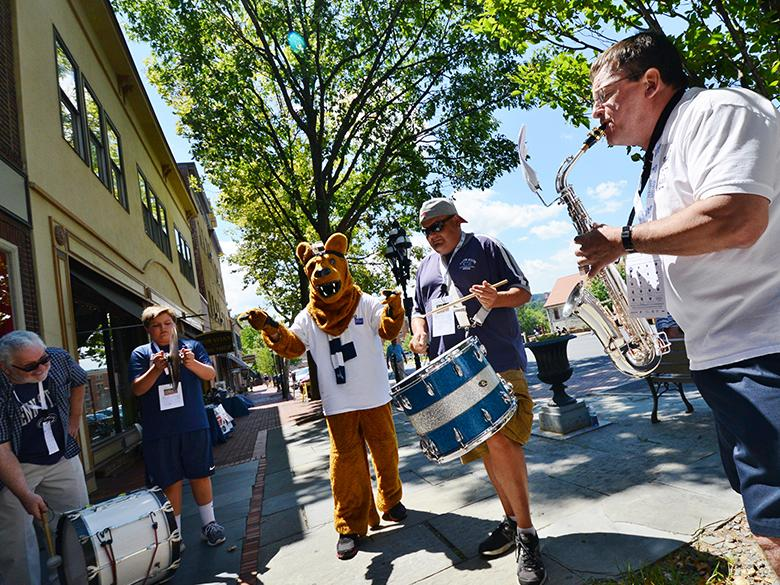 PSU Alumni Blue Band playing in downtown bethlehem for an alumni event
