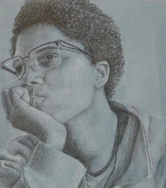 pencil drawing of student with glasses