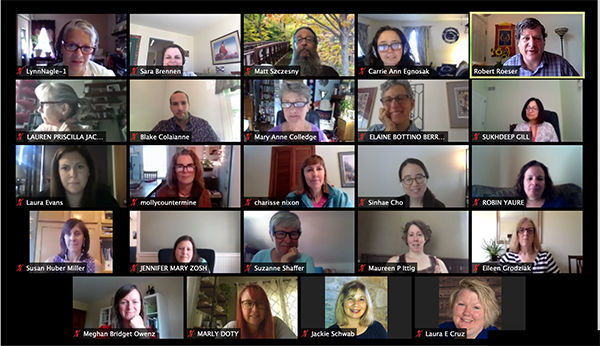 Zoom screen showing institute participants