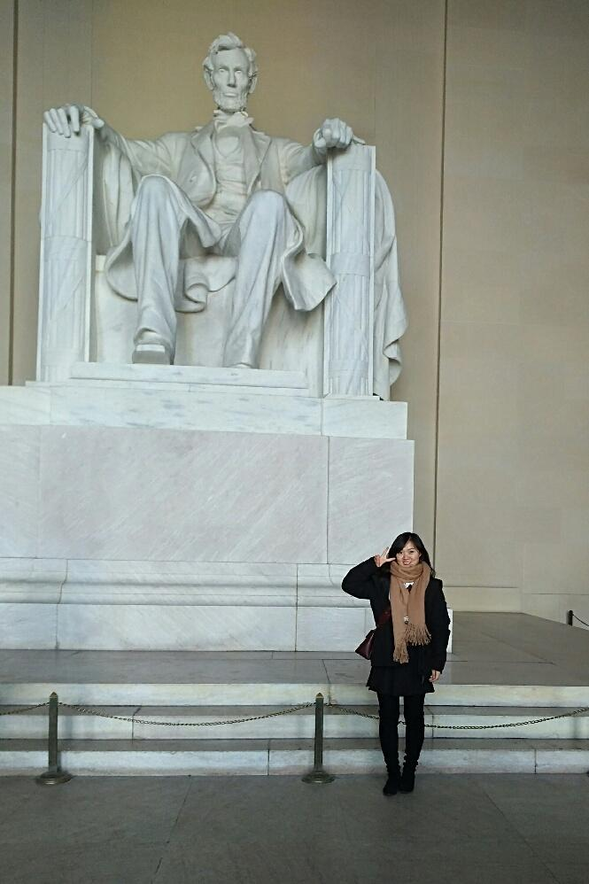 Student in front of Lincoln Memorial in D.C.