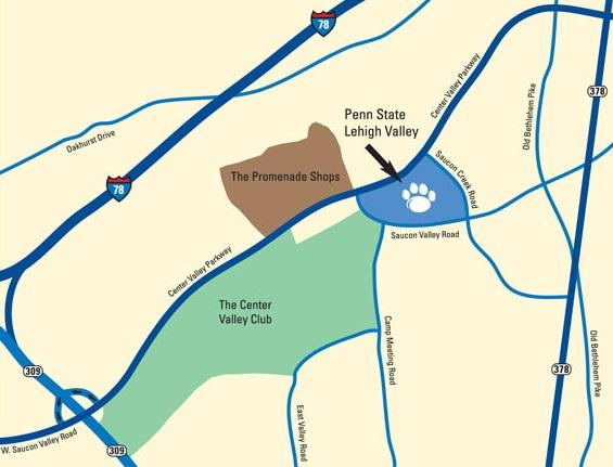 directional map of the main roads around the Penn State Lehigh Valley campus
