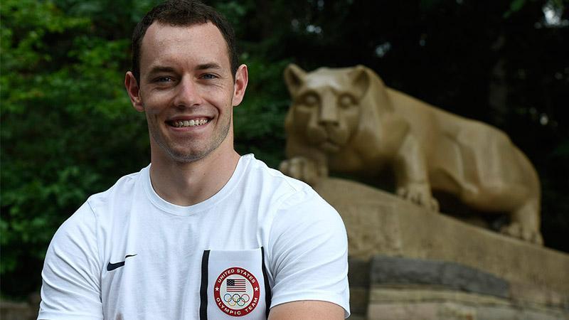 Matt Baranoski in front of lion shrine