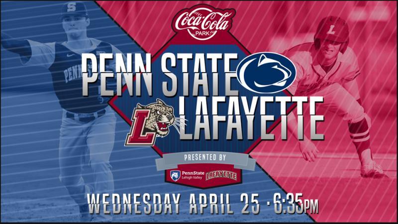 Penn State vs Lafayette baseball game on Wednesday, April 25