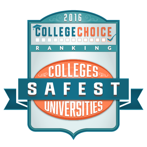 "Badge reading ""2016 College Choice Safest Colleges and Universities"""