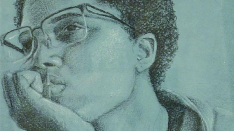 pencil drawing of a student with glasses