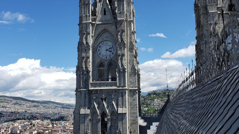 View from a tower of a church up high over Ecuador