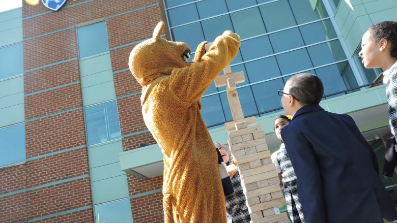 Nittany Lion building jenga tower