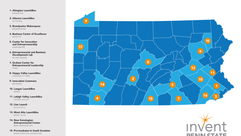 Map of 17 sites of Invent Penn State Innovation Hubs