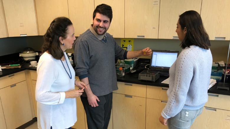 Three people conducting research by computer screen