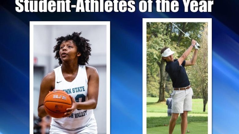 young woman playing basketball and young man playing golf