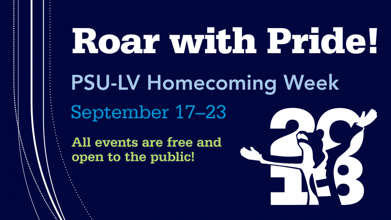 "Text reading ""Roar with pride! PSU-LV Homecoming Week, September 17-23. All events are free and open to the public"""