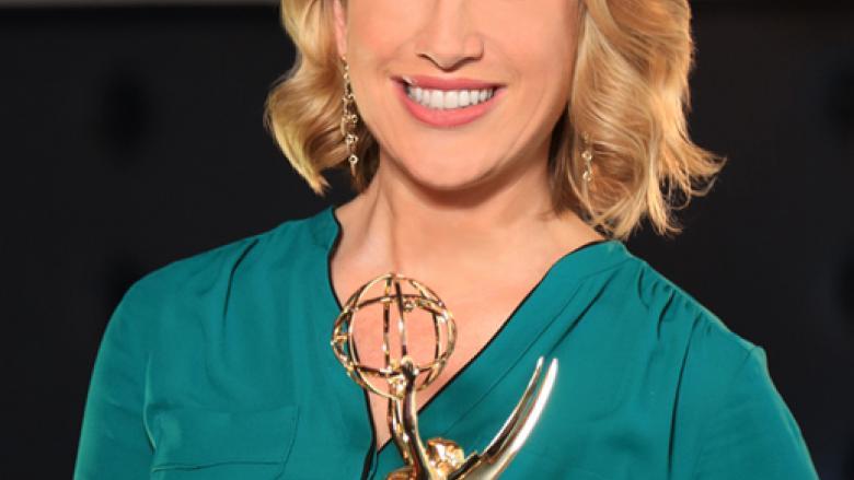 Liz Keptner poses with Emmy