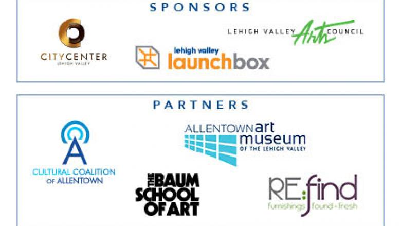 Sponsors: City Center Lehigh valley, Lehigh Valley LaunchBox, Lehigh Valley Arts Council. Partners: Cultural Coalition of Allentown, The Baum School of Art, Allentown Art Museum of the Lehigh Valley, RE:find furnishings found + fresh