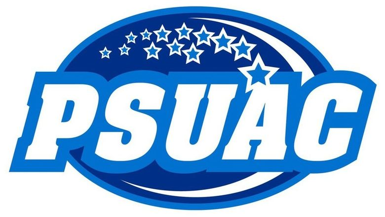 Blue and white logo for Penn State University Athletic Conference (PSUAC)