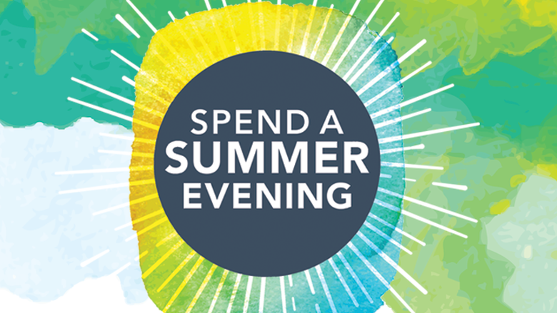 logo that looks like a sunburst with text that says Spend a Summer Evening
